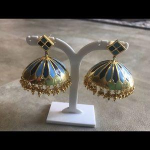 Blue enamel jhumki earrings